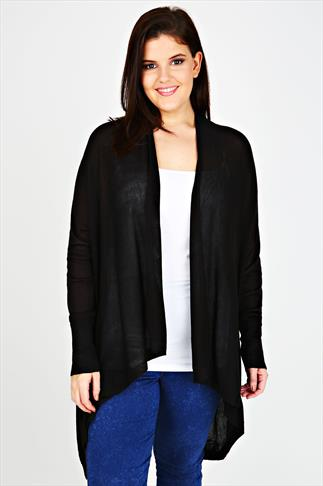 Black Fine Knit Waterfall Cardigan With V-Stitch Back Detail