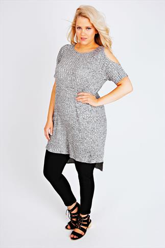 Grey Marl Cold Shoulder Ribbed Tunic Dress With Dipped Hem