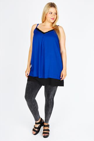 Blue & Black Double Layer Cami Tunic With Frill Neckline