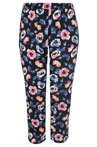Pink & Blue Floral Print Harem Trousers