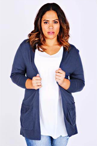 Dark Blue Longline Cardigan With Laser Cut Pocket & Cuff Details