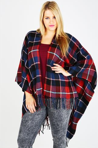 Navy, Red & Black Checked Wrap