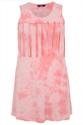 Pink Tie Dye Sleeveless Longline Top With Tassels