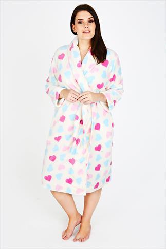 Pink, Blue & White Heart Fleece Dressing Gown