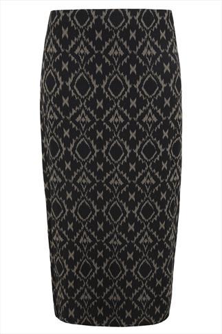 Black And Khaki Aztec Print Maxi Tube Skirt