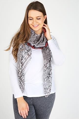 Black, White & Red Printed Scarf