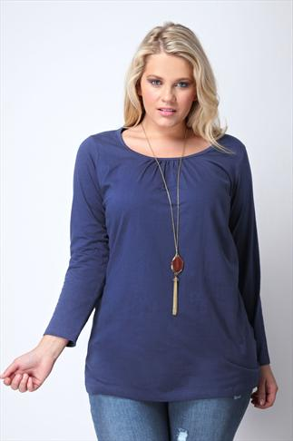 Navy Longsleeve Cotton T-Shirt With Ruched Neckline