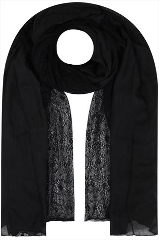 Black Lace Detail Lightweight Scarf