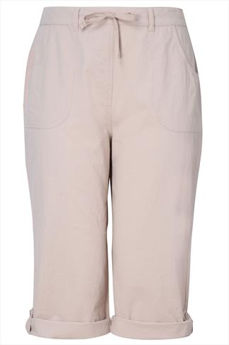 Stone Cool Cotton Roll-Up Crop Trousers