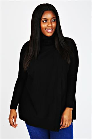 Black Cowl Neck Wrap Over Jumper with Drop Shoulder
