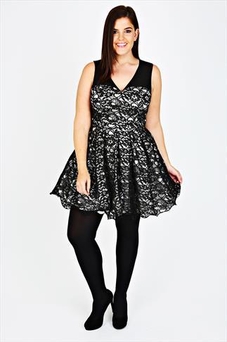 black skater dress with mesh panel  waist belt plus size