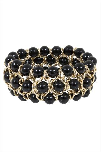 Gold & Black Bead Stretch Bracelet