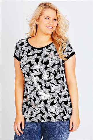Black and White Foil All Over Butterfly Print T-Shirt