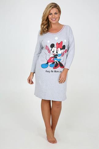 Grey Marl Disney Mickey And Minnie Nightdress