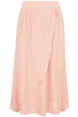 Pale Pink Wrap Over Maxi Skirt