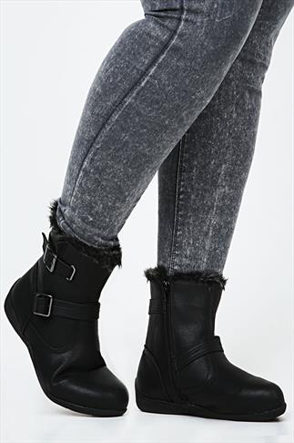 Black Ankle Boot With Buckles & Fur Top In EEE Fit