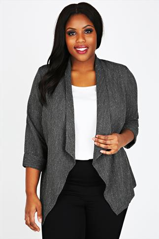 Grey Marl Twill Waterfall Jacket With Flecked Detail