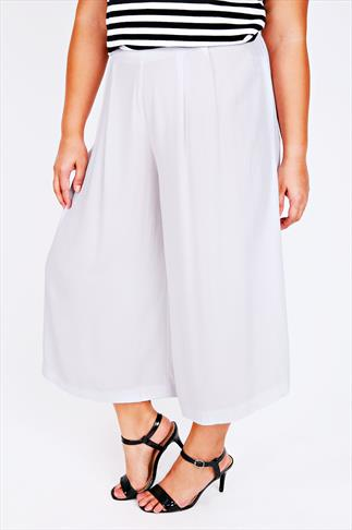 White Crinkle Viscose Culottes With Half Elasticated Waist