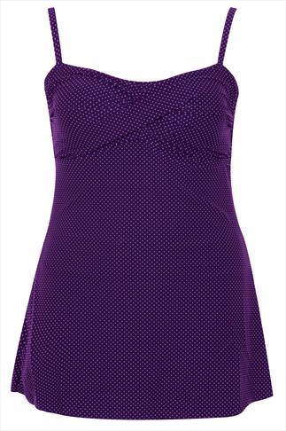 Purple Polka Dot Swimdress With TUMMY CONTROL