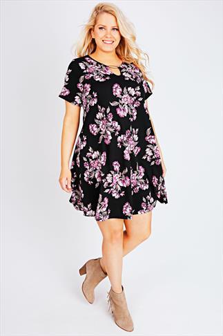 Black & Purple Floral Print Bar Trim Swing Dress