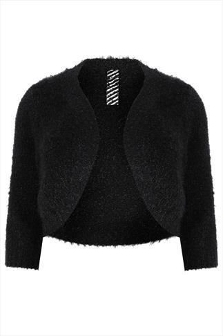 Black Eyelash Knit Shrug With 3/4 Sleeve