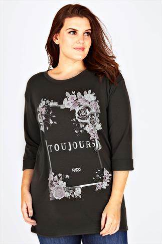 """Khaki 3/4 Length Sleeve Sweat Top With """"Toujours"""" Print"""