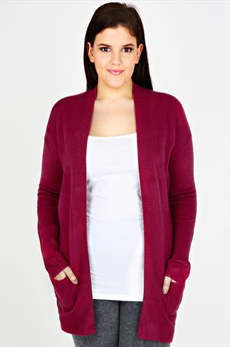 Pink Edge to Edge Supersoft Knitted Cardigan With Pockets & Ribbing