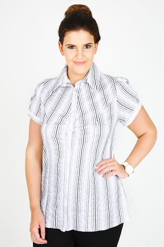 White And Black Striped Work Shirt With Ruching Detail