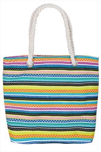 Multi Coloured Stripe Print Beach Bag