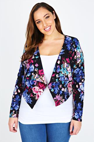 Black & Blue Floral Print Crepe Waterfall Front Cropped Jacket