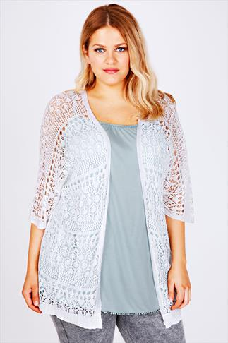 White Crochet Lace Short Sleeved Cardigan