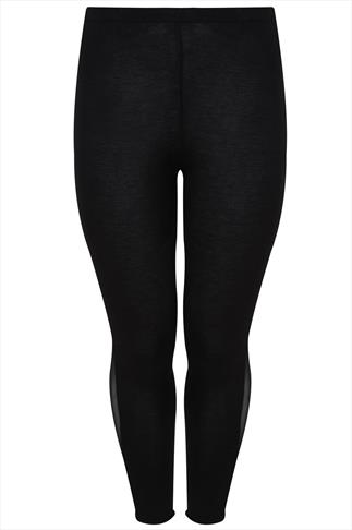 Black Leggings With Mesh Side Panel