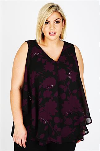 Black & Purple Embellished Frill Front Blouse
