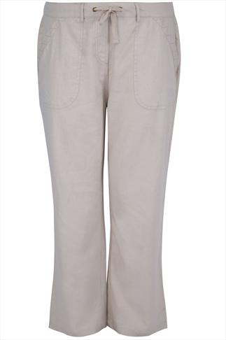 Stone Linen Mix Full Length Trousers With Stitch Detail