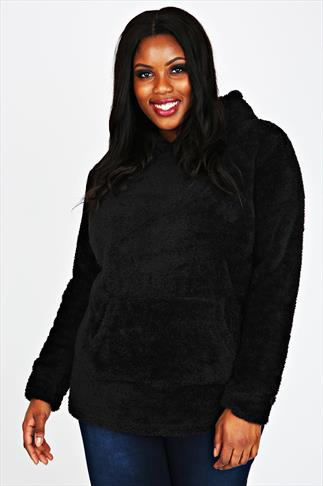 Black Plain Fluffy Hooded Fleece