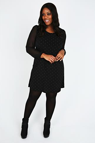 Black Studded Shift Dress with Chiffon Sleeves