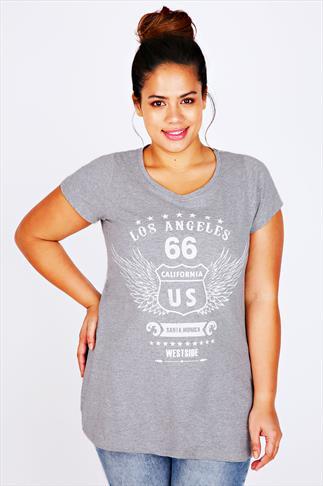 Grey Marl Short Sleeve 'Los Angeles 66' Printed T-shirt With Dipped Hem