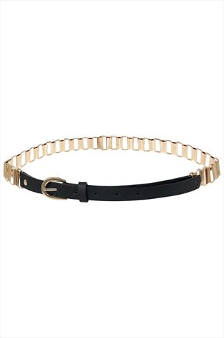 Black & Gold Chain Belt Black