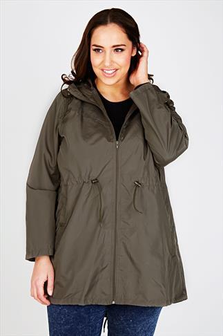Khaki Shower Resistant Pocket Parka Jacket With Hood