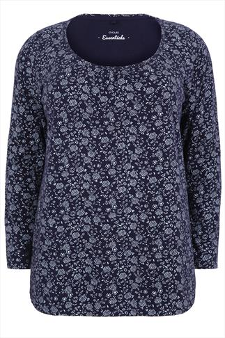 Blue and White Ditsy Floral Long Sleeved T-Shirt