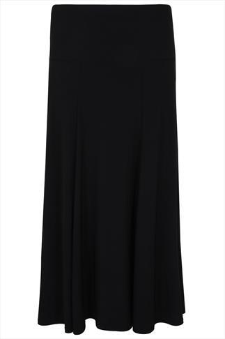 Black Panelled Maxi Skirt