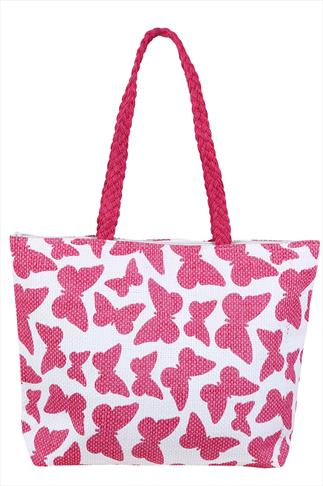 Pink And White Butterfly Print Shopper Beach Bag