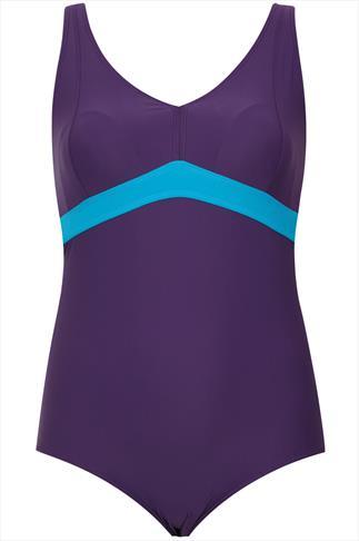Purple Halterneck Swimsuit With TUMMY CONTROL