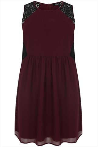 Wine & Black Lace Detail Dress With Elasticated Waist