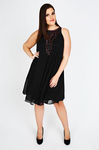 Black Chiffon Sleeveless Swing Dress With Red Embellishment