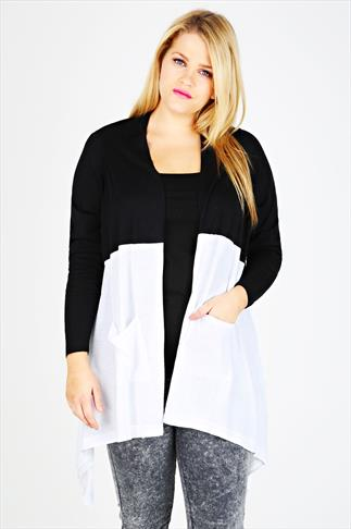 Black and White Block Colour Draped Front Waterfall Cardigan