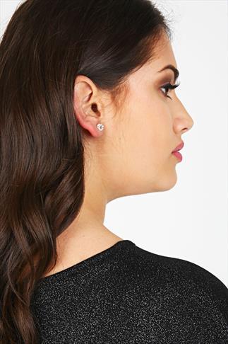 Silver Assorted Stud Diamanté Earrings - 3 Pair Pack