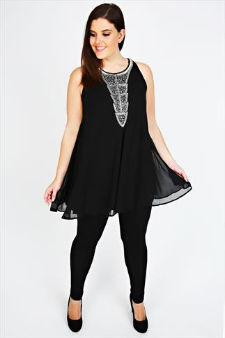 Black Chiffon Sleeveless Tunic With Silver Embellishment