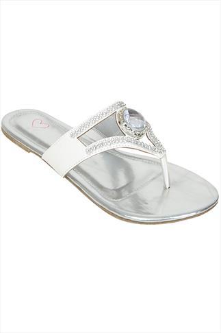 White Rhinestone Toe Post Diamante Sandals In A EEE Fit