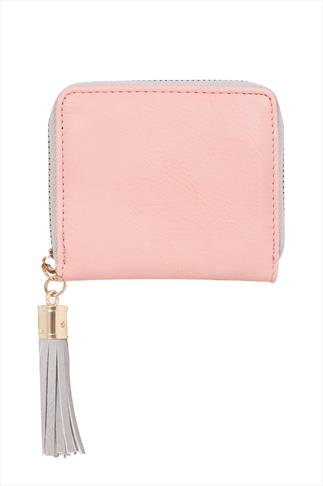 Pastel Pink PU Zip Around Purse With Tassel